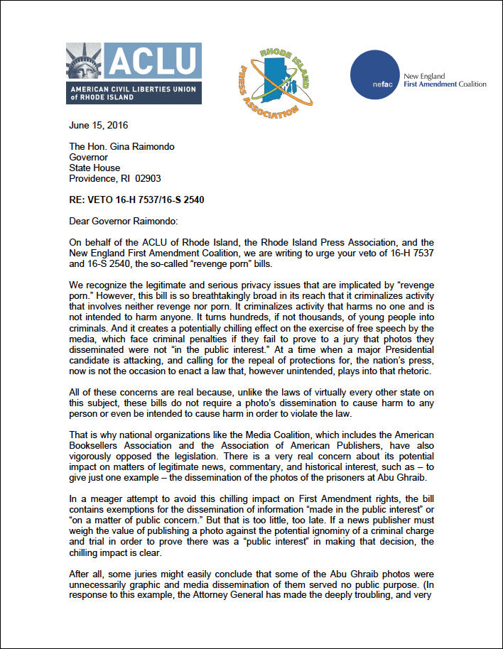 Nefac Aclu And Ri Press Association Urge Gov Raimondo To Veto